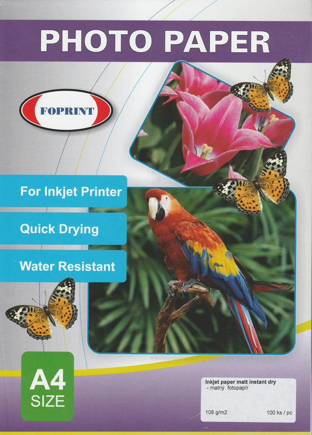 FOPRINT Fotopapír - matný, A4, 108 g/m2, 100ks