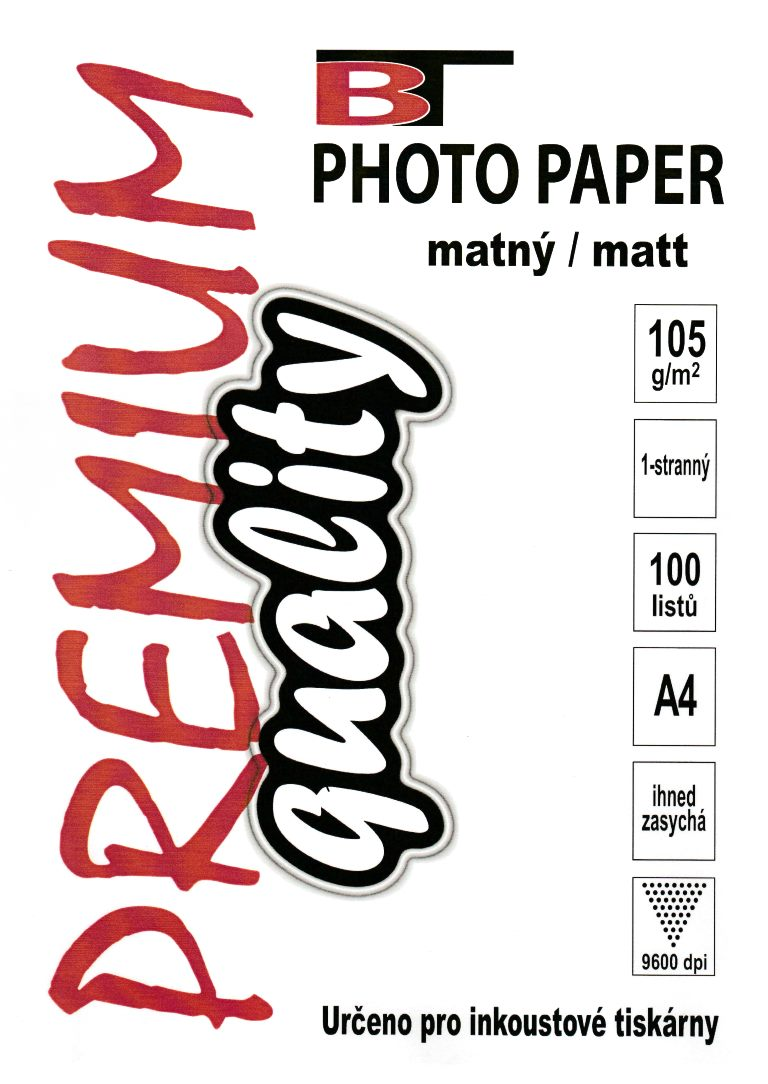 Fotopapír - matný, A4, 105 g/m2, 100 listů