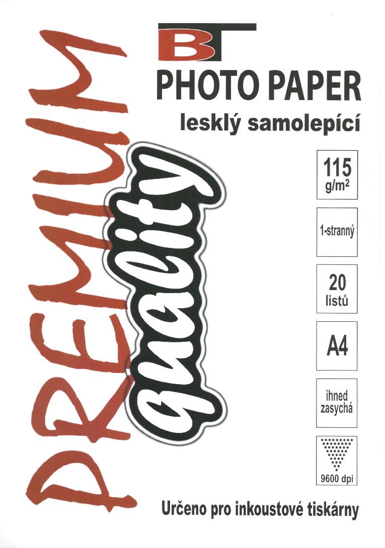 Samolepící fotopapír - lesklý, A4, 115 g/m2, 20 listů