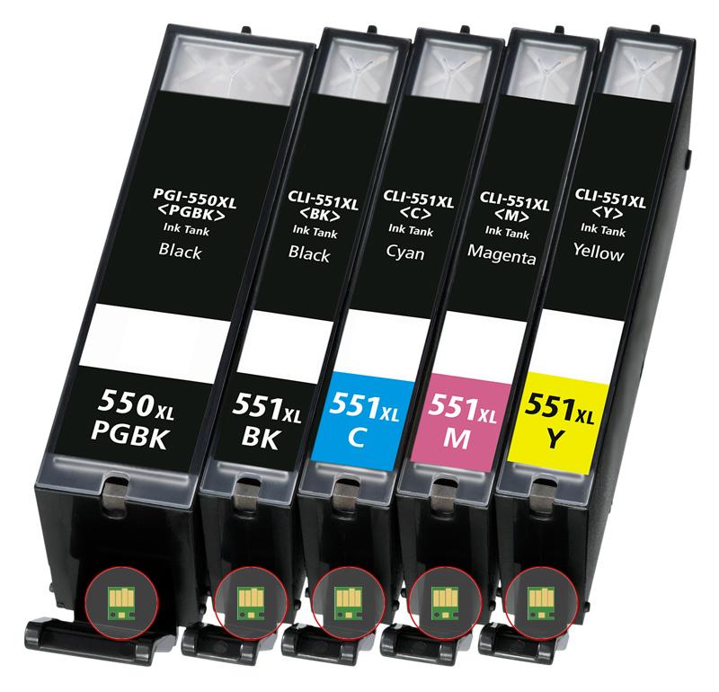 Multipack 5ks Canon CLI-551 a PGI-550 - kompatibilní